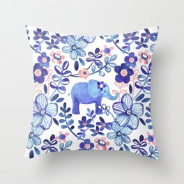 Pale Coral, White and Purple Elephant and Floral Watercolor Pattern Throw Pillow