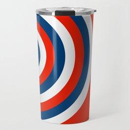Retro Circles Pop Art - Red White & Blue Travel Mug