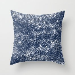 Blue stonewashed scribble texture Throw Pillow