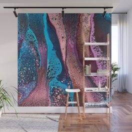 Psychedelic pink and turquoise lacing Wall Mural