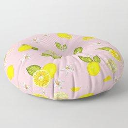 Lemon, lemon slice and leaves pattern pink background Floor Pillow