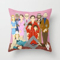 royal tenenbaums Throw Pillows featuring Royal Tenenbaums Family Portrait  by AnaMF