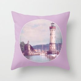 Lighthouse at Lindau, Lake of Constance Throw Pillow
