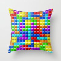 tetris Throw Pillows featuring Tetris by Rebekhaart