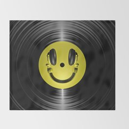Vinyl headphone smiley Throw Blanket