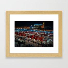 Jemaa el-Fnaa at Night Framed Art Print