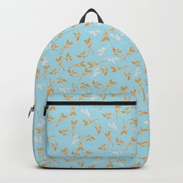 Gold & pearl watercolor leaves on light blu seamless pattern Backpack