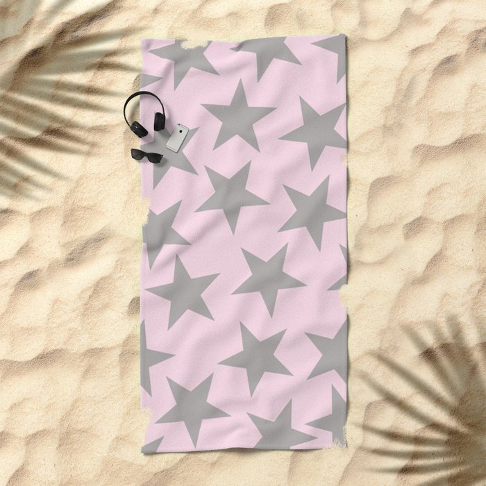 Grey stars on pink background pattern Beach Towel