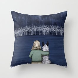 Love and Starlight with Blue Heeler Throw Pillow