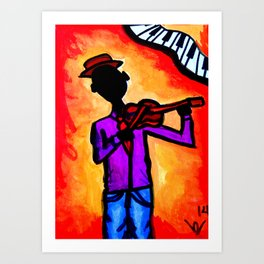 Silhouette Violinist Oval Art Print