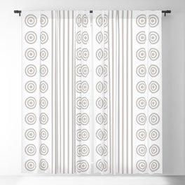 Geometric Dusky Silver Grey & White Vertical Stripes & Circles Blackout Curtain