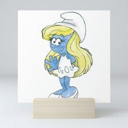Watercolour Smurfette Sketch Mini Art Print