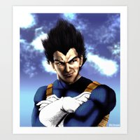 vegeta Art Prints featuring Prince Vegeta by Shibuz4