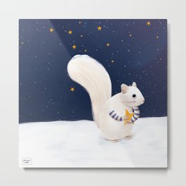Christmas snow squirrel Metal Print