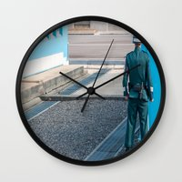 korea Wall Clocks featuring Guarding the MDL_South Korea by Jennifer Stinson