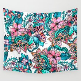 Boho turquoise pink floral watercolor illustration Wall Tapestry