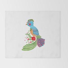 The Blue Quetzal Throw Blanket