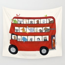 the big little red bus Wall Tapestry