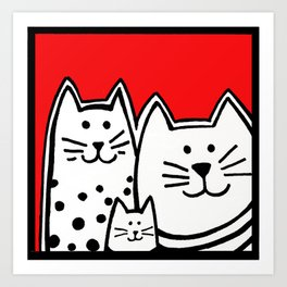 Three Kitties In Red Art Print