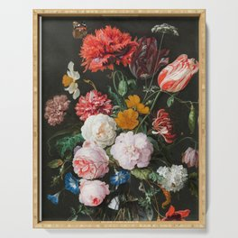 Dutch Golden Age Floral Painting Serving Tray