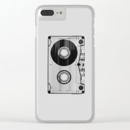 Vintage 80's Cassette - Black and White Retro Eighties Technology Art Print Wall Decor from 1980's Clear iPhone Case