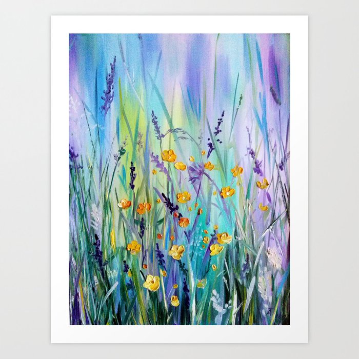 Flowers field at dawn Art Print