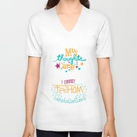 tfios V-neck T-shirts featuring My Thoughts Are Stars by Risa Rodil