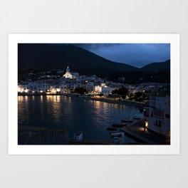 Spanish Harbour by Night  Art Print