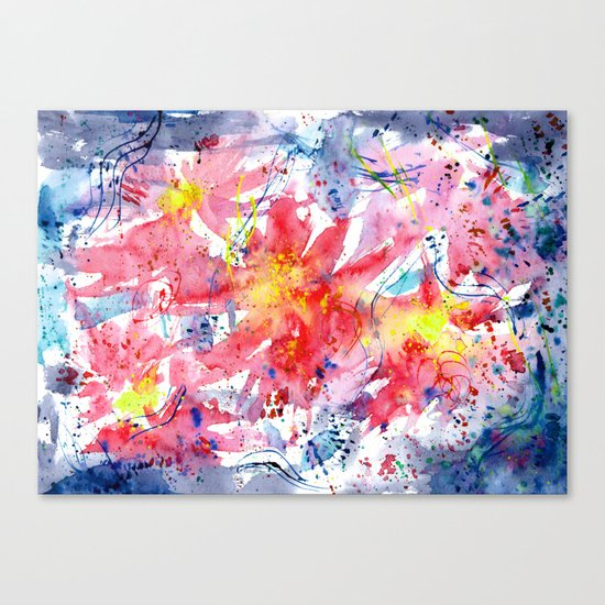 Floral vibes || watercolor Canvas Print
