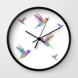 Watercolor Springtime Hummingbird Wall Clock