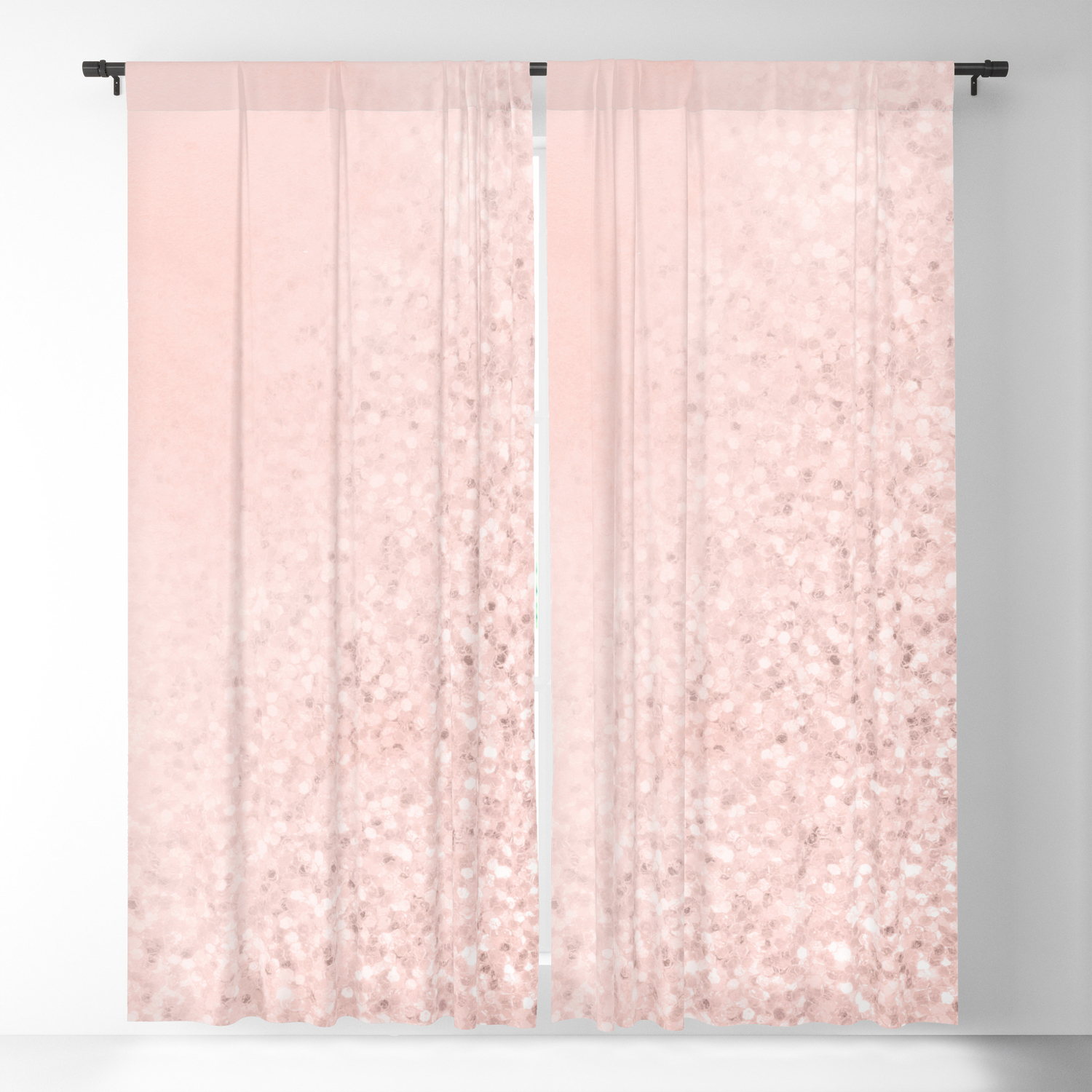She Sparkles Rose Gold Pastel Pink Luxe Geometric Blackout Curtain By Naturemagick