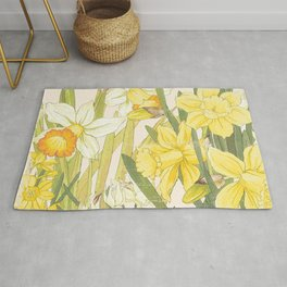 Vintage Floral Paper:  Spring Flowers on Shabby White -Daffodils Rug