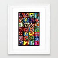 alphabet Framed Art Prints featuring Alphabet by C Z A V E L L E