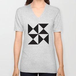 Geometric Pattern #45 (black white triangles) Unisex V-Neck