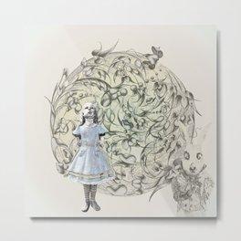 Alice,White Rabbit  and a Wonderland Metal Print