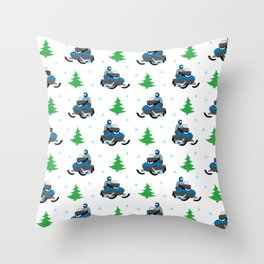 Snowmobile Pattern (blue) Throw Pillow