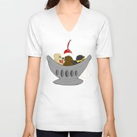 labrador V-neck T-shirts featuring Labrador Sundae by Kristen Hodge