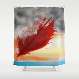 A RED FEATHER BLOWS NORTH Shower Curtain