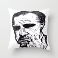 the godfather Throw Pillows featuring The Godfather by tyler Guill