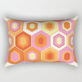 Pink, Orange, Yellow and White Hexagon Geometric Retro Pattern Rectangular Pillow