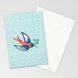 The bird in blue Stationery Cards