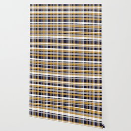 Modern Retro Plaid in Mustard Yellow, White, Navy Blue, and Grey Wallpaper