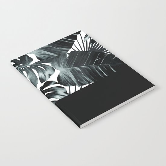 Palm Leaves and Black Notebook