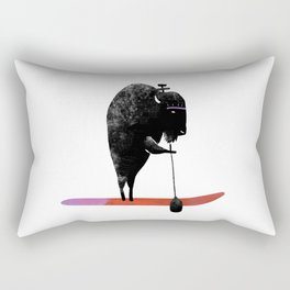 Buffalo goes paddle boarding in the ocean on the West Coast Rectangular Pillow