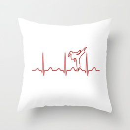Karate Girl Heartbeat Throw Pillow