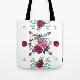 Floral Pattern with Arrows Tote Bag