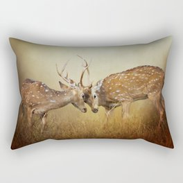 Two Male Deer Fighting In Foggy Landscape Rectangular Pillow