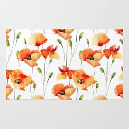 Hand Painted orange yellow watercolor poppies floral Rug