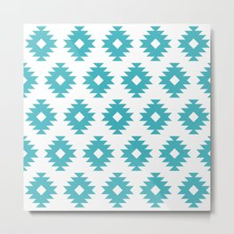 Southwestern Pattern 427 Turquoise Metal Print