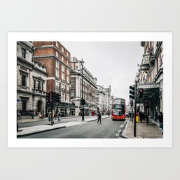 Red bus in Piccadilly street in London Art Print